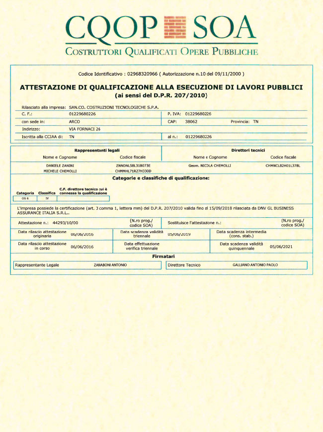 Certificato soa ok 2014