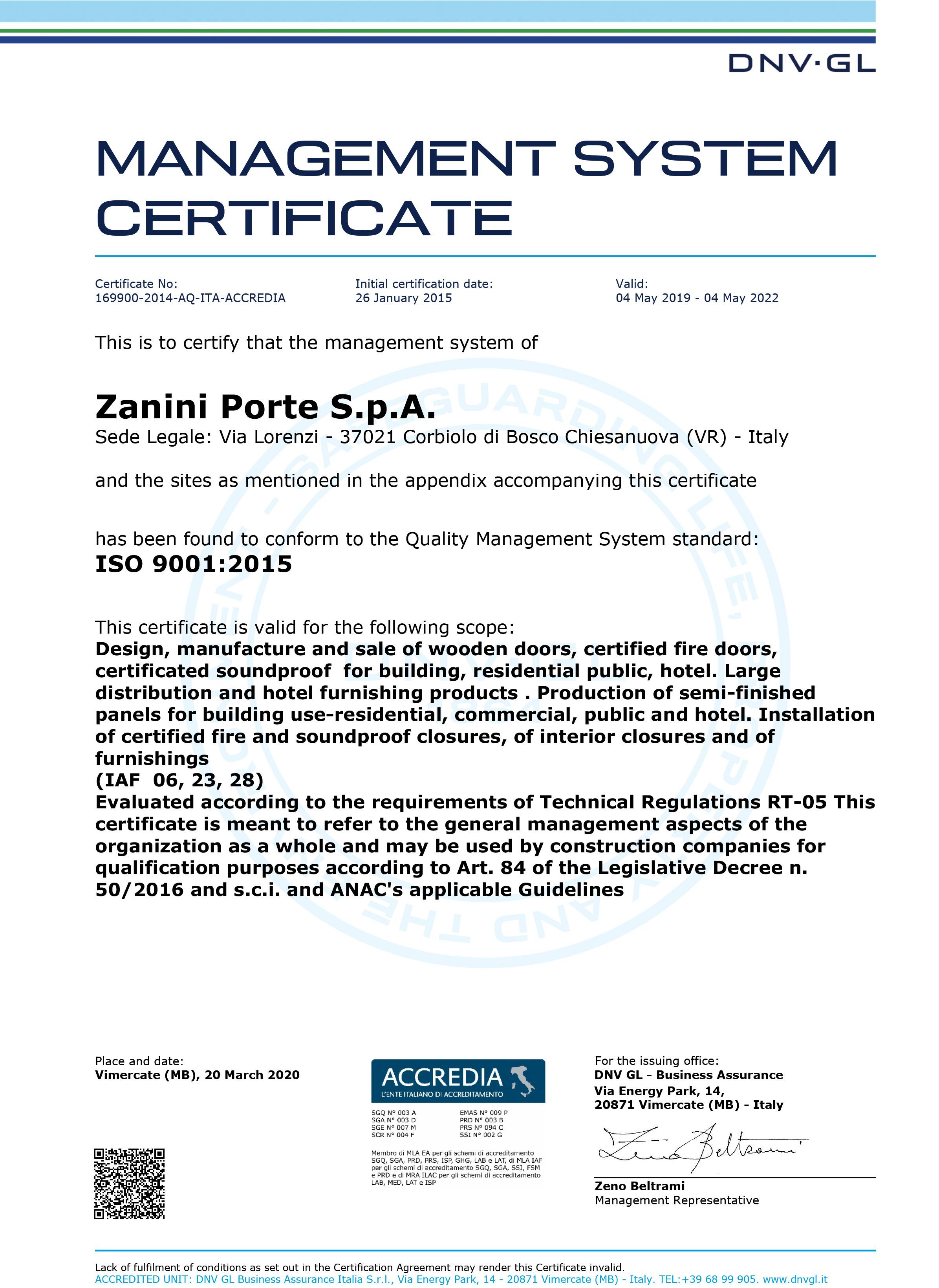 ZANINI-PORTE-S.p.A. ISO-9001 ENG
